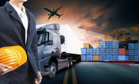 Photo for working man and container truck ,ship in port and freight cargo plane in transport and import-export commercial logistic ,shipping business industry - Royalty Free Image