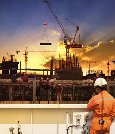 Photo pour contractor and construction worker working in building construction site - image libre de droit