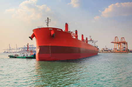 Photo for industrial tanker ship approaching to logistic industry port - Royalty Free Image