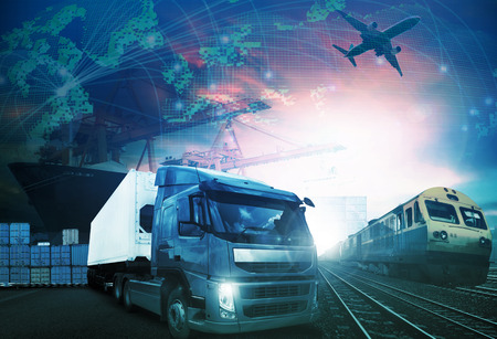 Photo pour world trading with industries truck,trains,ship and air cargo freight logistic background use for all import export transportation theme - image libre de droit