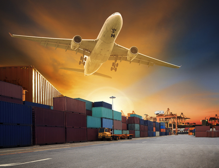 Photo pour cargo plane flying above container dock and ship port use for transportation and freight logistic industry business - image libre de droit