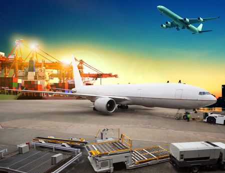Photo for air freight and cargo plane loading trading goods in airport container parking lot use for shipping and air transport logistic industry - Royalty Free Image