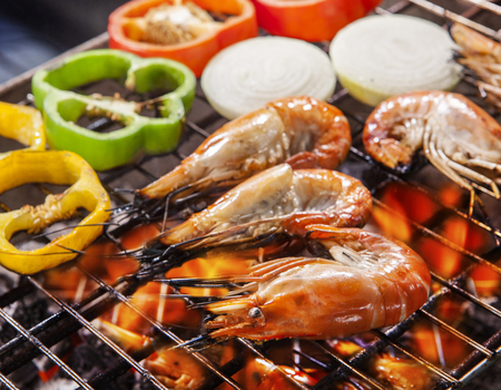 Photo for shripm ,prawns grilled on barbe cue stove fire with chilly and onion - Royalty Free Image