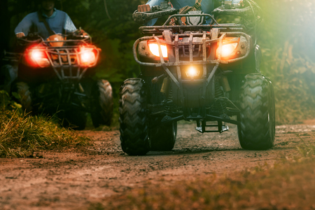 Photo for man riding atv vehicle on offroad track ,people outdoor sport activitiies theme - Royalty Free Image