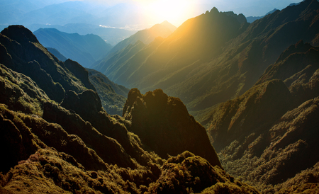 Photo for mountain range of fansipan highest mountain summit of indochina in sapa lao cai province northern of vietnam - Royalty Free Image