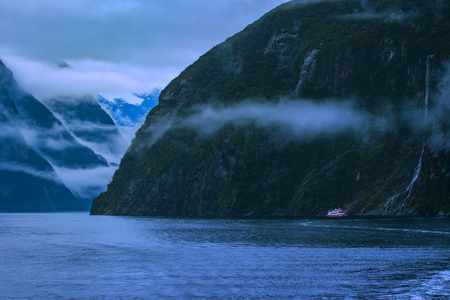 Photo for cruising in milford sound fiordland national park most popular natural traveling destination in southland new zealand - Royalty Free Image