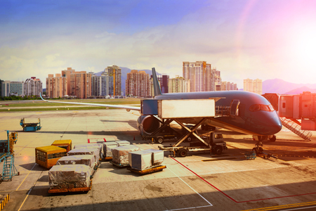 Photo for cargo plane loading for logistic and transport business - Royalty Free Image