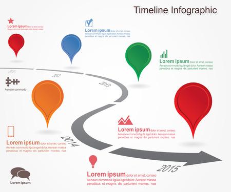 Illustration pour Timeline infographics with elements, icons. - image libre de droit
