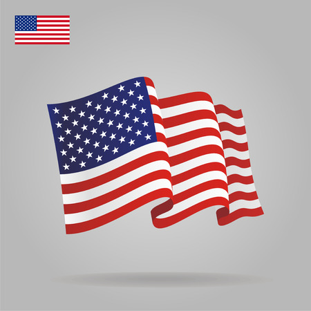 Illustration for Flat and waving American Flag. Vector - Royalty Free Image