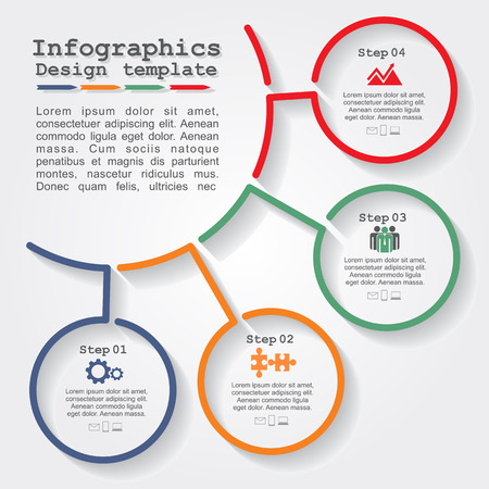 Illustrazione per Infographic report template with lines and icons. Vector - Immagini Royalty Free
