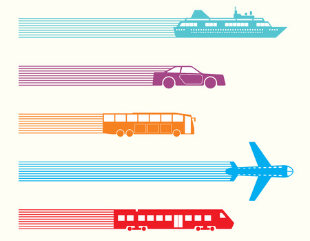 Ilustración de Different kinds of transport. Vector illustration - Imagen libre de derechos