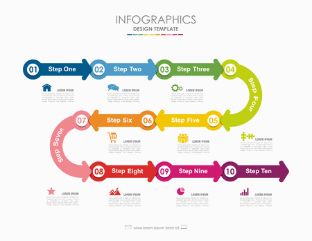 Ilustración de Infographic template. Vector illustration. Can be used for workflow layout, diagram, business step options, banner, web design. - Imagen libre de derechos