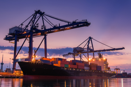 Foto per Terminal container loading at twilight., Cargo and shipping, Logistics yard. - Immagine Royalty Free