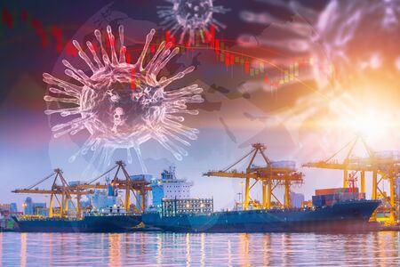 Foto per Coronavirus Impact Influence Transportation Import/Export Industry, Covid 19 Disease Epidemic Effect to Transport Industrial and Stock Exchange. Falling Stock Market Risk Investment From Coronavirus - Immagine Royalty Free