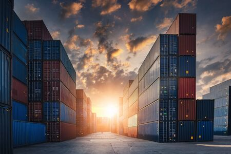 Foto per Container Cargo Port Ship Yard Storage Handling of Logistic Transportation Industry. Row of Stacking Containers of Freight Import/Export Distribution Warehouse. Shipping Logistics Transport Industrial - Immagine Royalty Free