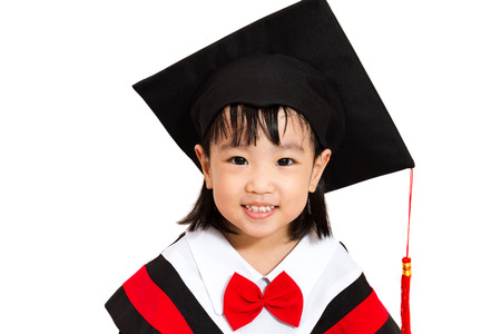 Chinese little girl graduation on white background