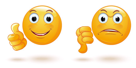 Illustrazione per Thumb up and down. Emoticons set demonstrating opposing emotions. Cheerful and sad smiley. Emoji collection showing different gestures. Yes and No. like and dislike. Vector illustration - Immagini Royalty Free