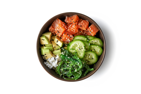 Photo pour poke bowl with salmon islated on white background. top view - image libre de droit