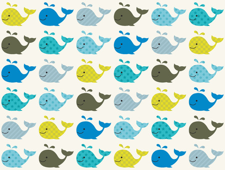 Illustration for seamless whale pattern  - Royalty Free Image