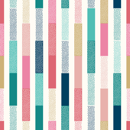 Photo pour seamless doodle dots vertical stripes patchwork pattern - image libre de droit