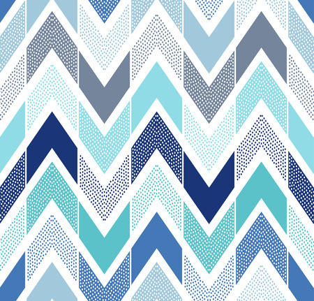 Illustration for seamless doodle dots zigzag tiles pattern - Royalty Free Image