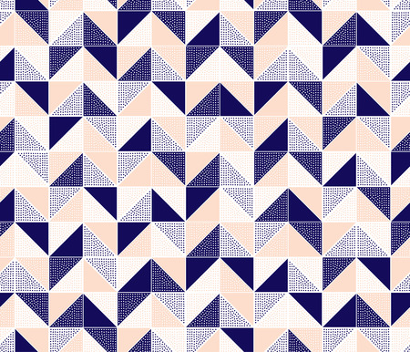 Illustration pour seamless doodle dots zigzag tiles pattern - image libre de droit