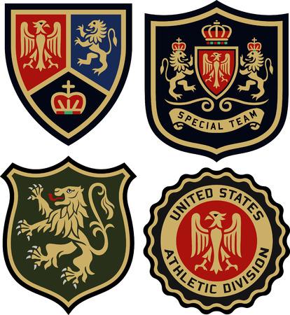 Illustration for royal classic heraldic emblem badge shield - Royalty Free Image