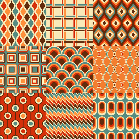 Illustration for seamless retro geometric pattern set - Royalty Free Image