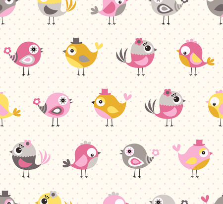 Illustration pour seamless cute birds pattern - image libre de droit