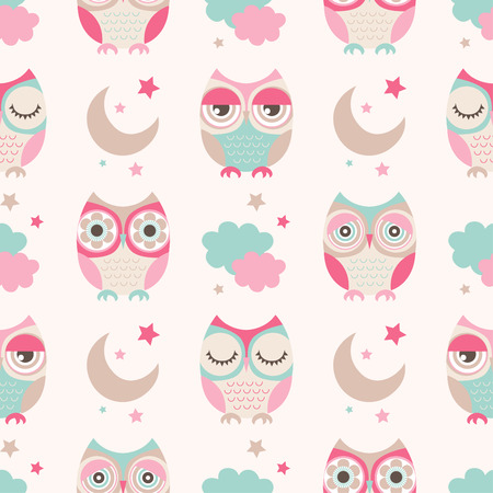Ilustración de seamless cute owls stars moon pattern background - Imagen libre de derechos
