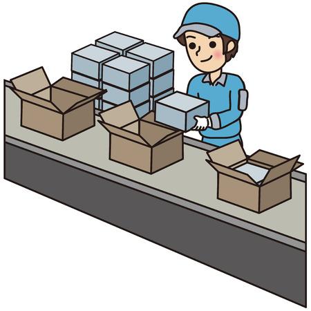 Illustration pour Man packing boxes - image libre de droit