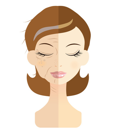 Illustration pour Women face the problem of skin trouble - image libre de droit
