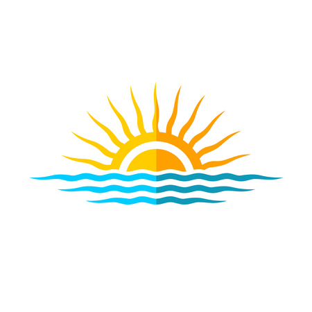 Ilustración de Travel logo template. Sun with sea waves. - Imagen libre de derechos