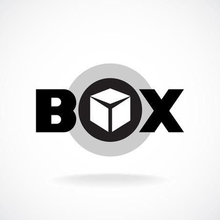 Illustration pour Box word sign with simple image of a box. - image libre de droit