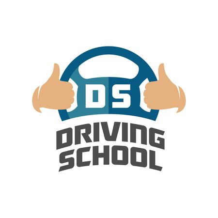 Photo for Driving school logo template. Steering whell with thumbs up hands. - Royalty Free Image
