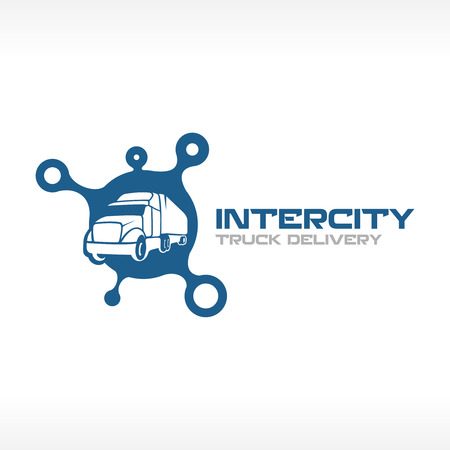 Photo pour Delivery truck service logo template. Intercity transport company concept. - image libre de droit