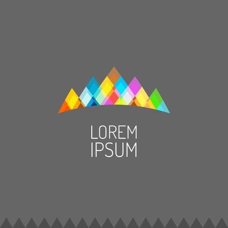 Illustration pour Vivid colors mountains logo or celebrity crown sign - image libre de droit