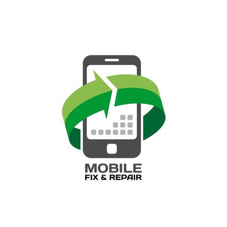 Illustration pour Mobile devices service and repair logo template - image libre de droit