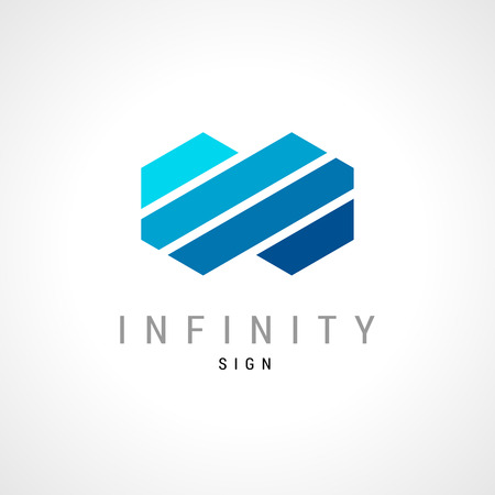 Infinity flat concept double hex logo template.