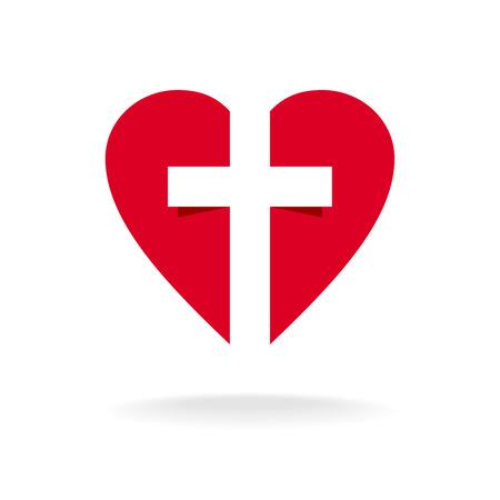 Illustrazione per Heart with cross church logo template - Immagini Royalty Free