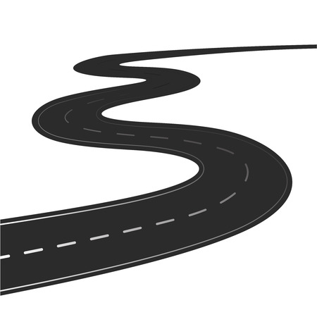 Ilustración de Winding road vector illustration isolated on a white background - Imagen libre de derechos