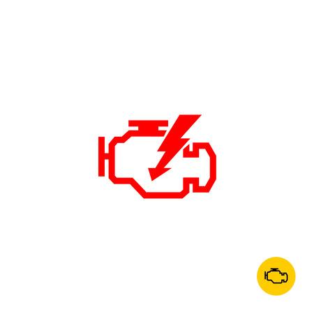 Illustration pour Check engine car symbol. Motor contour silhouette with lightning sign. - image libre de droit