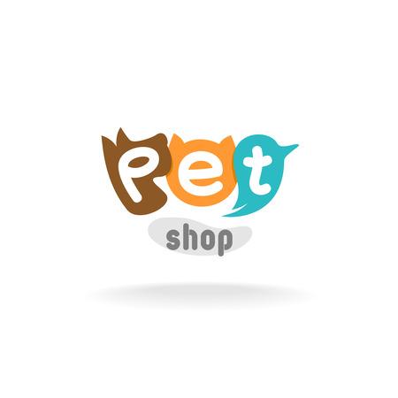 Ilustración de Heads of brown dog, red cat and green blue parrot. Pet shop or store signboard. - Imagen libre de derechos