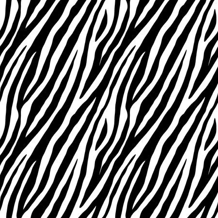 Illustrazione per Zebra skin repeated seamless pattern. Black and white colors. 2x2 sample. - Immagini Royalty Free