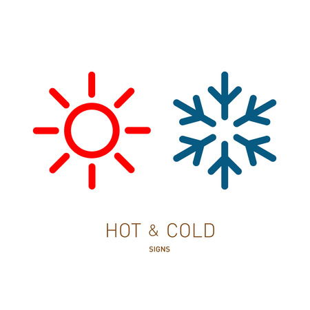 Illustration for Hot and cold sun and snowflake icons - Royalty Free Image