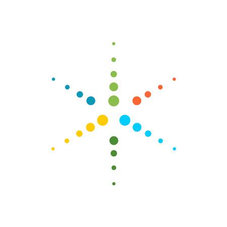 Illustration pour Six rays round particles colorful star logo template - image libre de droit