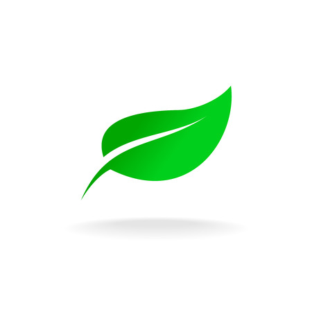 Ilustración de Simple elegant single green leaf vector logo - Imagen libre de derechos