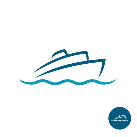 Illustration pour Ocean cruise liner ship silhouette simple linear logo - image libre de droit