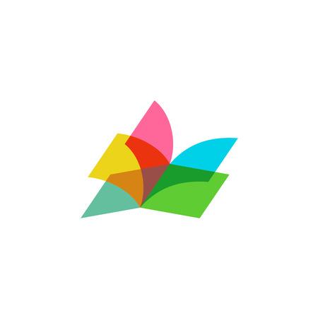Ilustración de Color sheets transparent open book logo - Imagen libre de derechos
