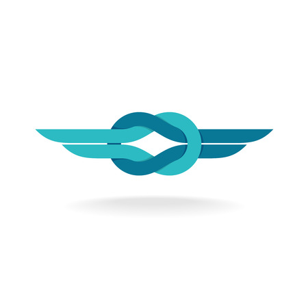 Illustration for Node symbol with wings. Flat style colors. - Royalty Free Image